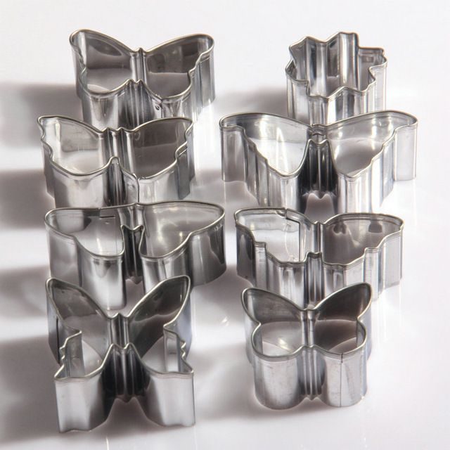 AMW 8ks / set 3D Stainless Steel Butterfly Shaped Cookie Cutter fondant Cutter Biscuit Mold