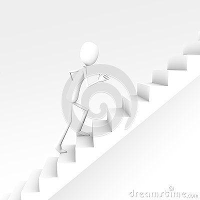 3D white man character run on upstairs