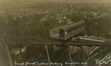 There were 2 Incline Railways that operated in Hamilton from the 1890's to the 1930's. This is the James Street South one.