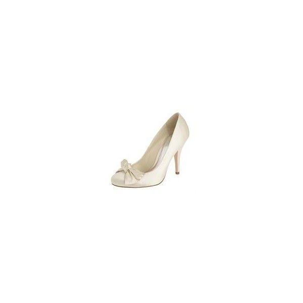 Ivory 'Jessica' bow court shoes (14 AUD) ❤ liked on Polyvore featuring shoes, pumps, heels, sapatos, buty, schuhe, satin bow shoes, debenhams shoes, satin pumps and bow shoes