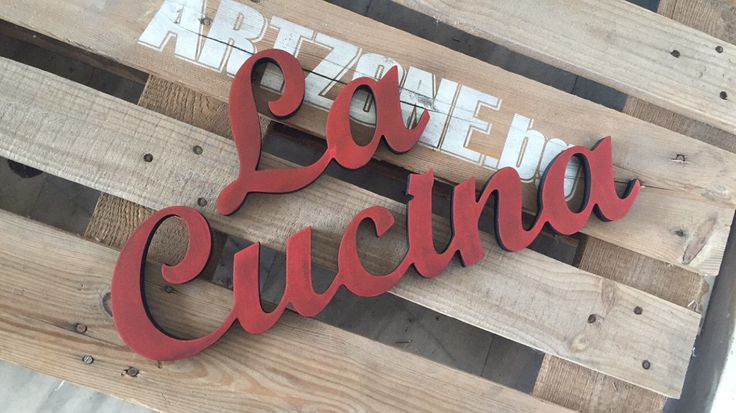 Kitchen  cabinet sign  La Cucina freestanding wooden letters. Standing sign for kitchen cabinet decor. Kitchen wall decor, wall hangings by svetulka on Etsy https://www.etsy.com/listing/268003936/kitchen-cabinet-sign-la-cucina