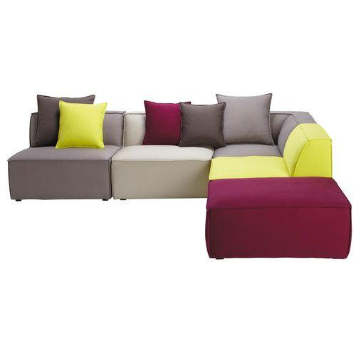 Canapé d'angle modulable 5 places en coton multicolore
