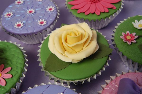 Yellow rose cupcake topper from The Cake Makery