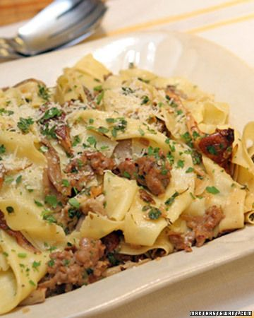 Pappardelle with Spicy Sausage and Mixed Wild Mushrooms - Martha Stewart Recipes