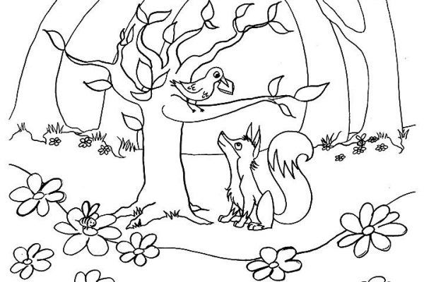 Raskraska Pro Lisicu I Voronu 18 Kartinok Shutniki Club Coloring Pages Crow Fox