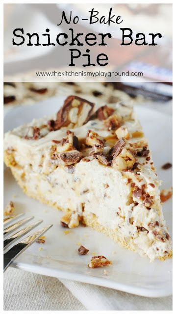 No-Bake Snicker Bar Pie ~ creamy peanut buttery and chocolatey Snicker deliciousness. www.thekitchenismyplayground.com