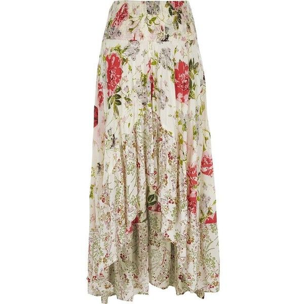 River Island White floral print sequin maxi high-low skirt (94 AUD) ❤ liked on Polyvore featuring skirts, maxi skirts, white, women, floor length maxi skirt, sequin skirts, long floral skirts and long maxi skirts