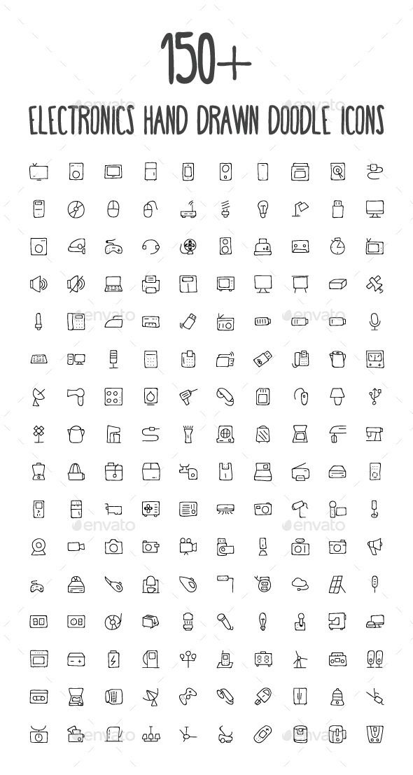 A set of 160 beautiful electronics hand drawn dood…
