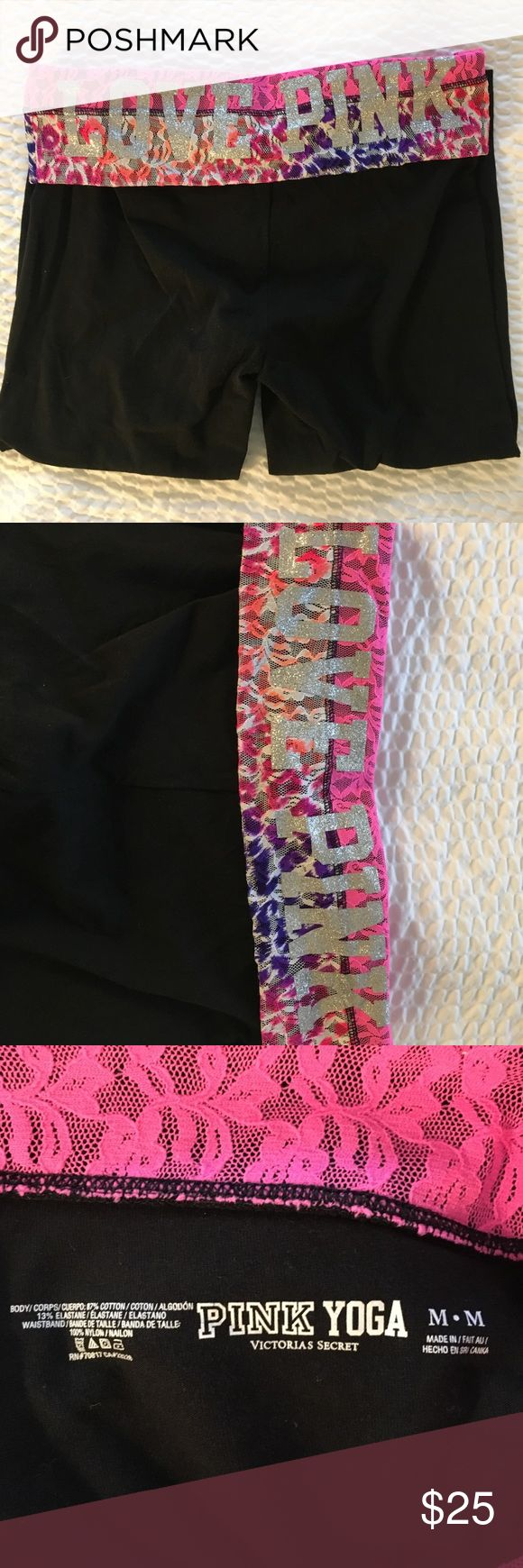 💙SALE❤️ Victoria Secret Pink Yoga Capris Victoria Secret Pink Yoga Capris. Super comfy and great to wear around all year. Colorful waist band. EUC PINK Victoria's Secret Pants Capris