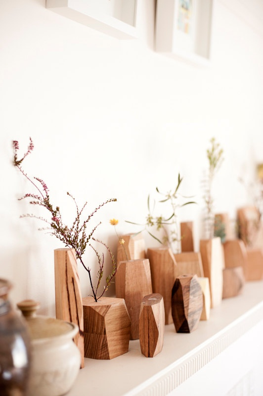 fasett flower vessels = scrap timber + eco wood oil + beeswax, would love these…