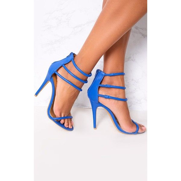 Cobalt Strappy Heeled Sandals ($32) ❤ liked on Polyvore featuring shoes, sandals, blue, strappy heel shoes, strappy heeled sandals, strappy sandals, blue shoes and blue sandals
