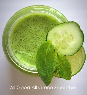 all green all good green smoothie with spinach and kiwi
