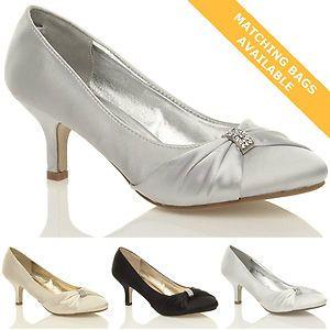 low heal black Bridesmaid Shoes   WOMENS WEDDING BRIDAL LADIES PROM SHOES LOW HEEL BRIDESMAID EVENING ...