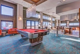 Contemporary Game Room with Centennial Regulation Pool Table by RI Anderson for Brunswick, Carpet, Chandelier, Wall sconce