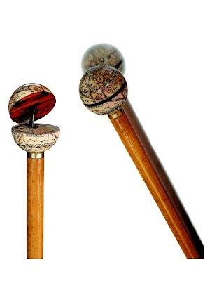 1860 Walking Stick with Sundial inside hinged globe.  The sphere made from ivory and horn, the equator in tortoise shell.