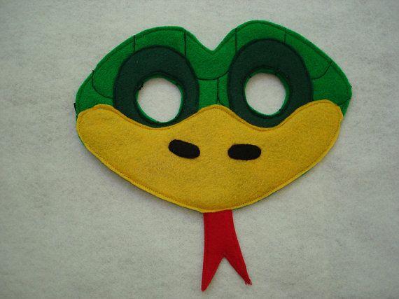 Children's Green Snake Felt Animal Mask by magicalattic on Etsy, $12.50