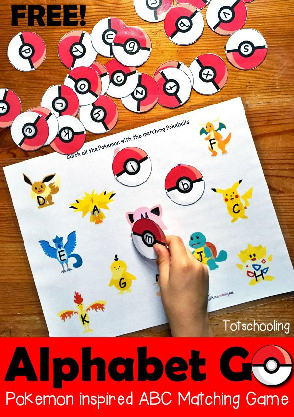 FREE printable Pokemon GO themed alphabet matching game. Includes letter recognition and letter case matching.