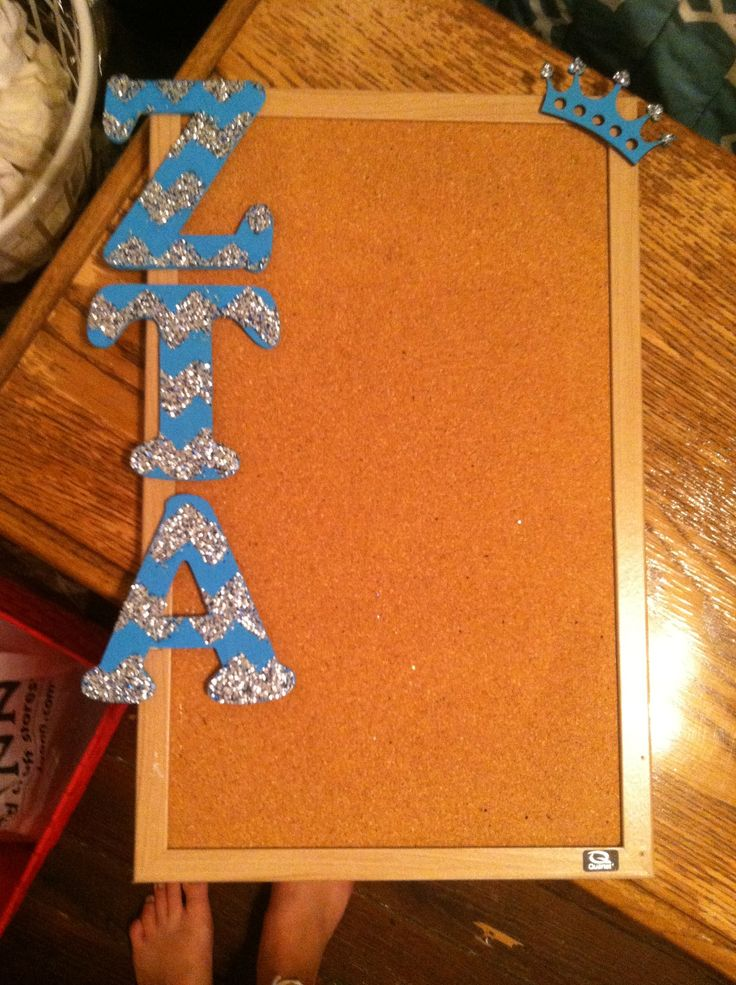 ZTA glitter chevron corkboard craft