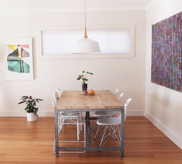 Dining room with large artworks. Aboriginal art and Scandinavian style mixed. photo whiteandwander