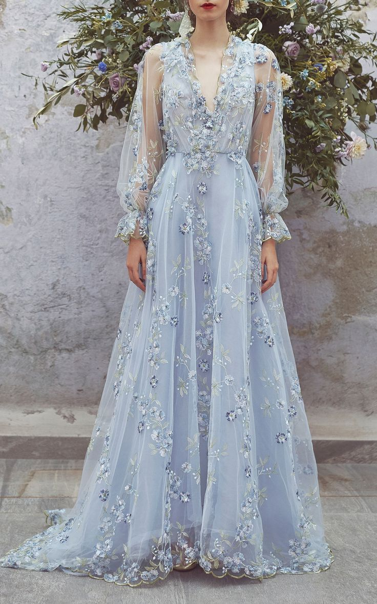 Tulle Floral Embroidered Dress by LUISA BECCARIA for Preorder on Moda Operandi