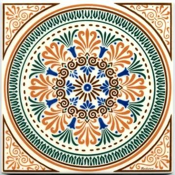 VICTORIAN TILES, IN GEOMETRIC ROUND DESIGN AND IVORY FIELD VT-10