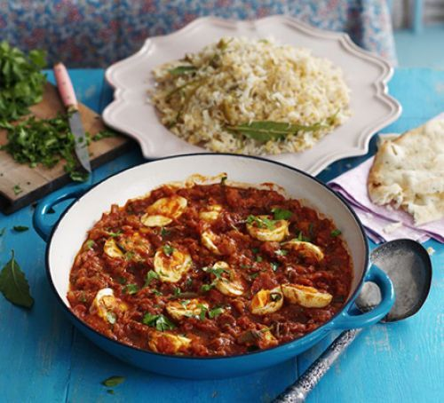 South Indian egg curry with rice & lentil pilau