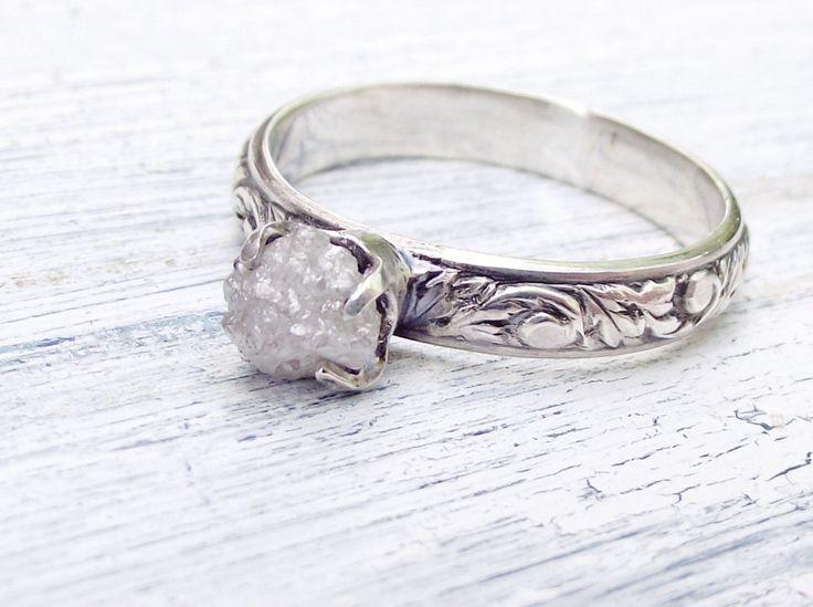 Rough Uncut Diamond Ring Rustic Sterling by wwcsilverjewelry