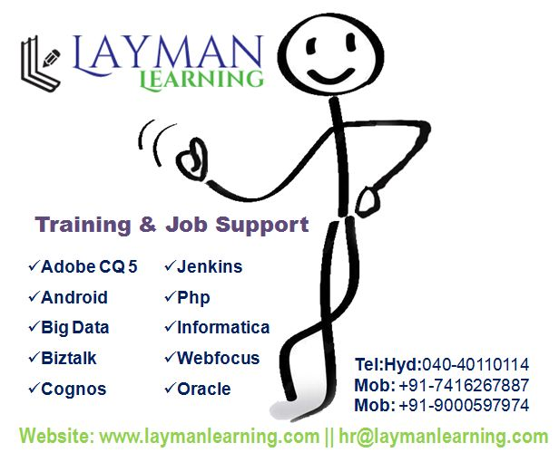 Welcome to Layman Learning - Free online courses|Training laymanlearning.com   Layman Learning is now providing globally Online IT Training from Hyderabad,India by the real time IT Experts. Call: 7416267887, Email:hr@laymanlearning.com