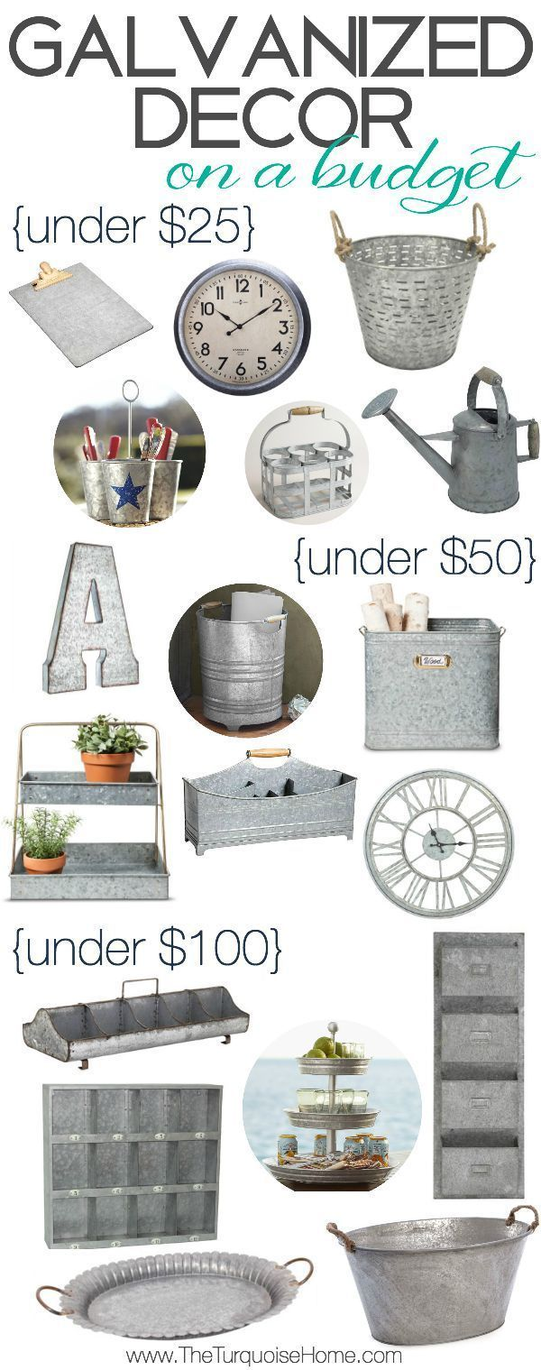 Who doesn't love some cute galvanized decor and on a budget, no less! Bring some affordable farmhouse style into your home. I think I love that basket for less than $25!!   Style Trend: Galvanized Decor on a Budget   TheTurquoiseHome.com