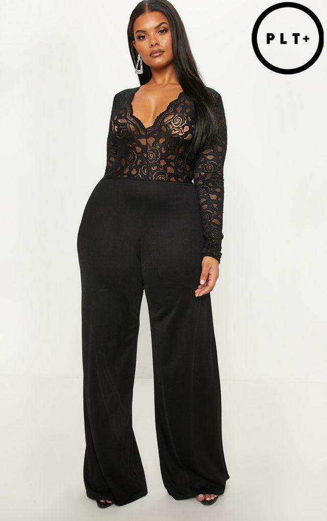 f584a051b2a1 Plus Black Wide Leg Lace Top Jumpsuit