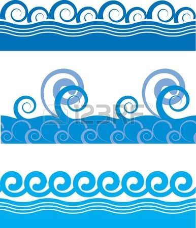 set of seamless texture of sea waves Stock Vector