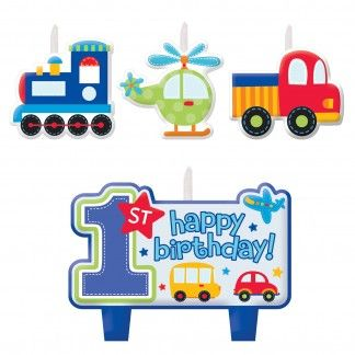 All Aboard Boy 1st Birthday Candles (Set of 4) | 1st All Aboard Boy First Birthday Party Supplies - Discount Party Supplies