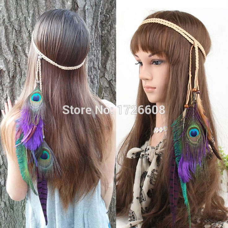 Long Chain Natural Peacock Feather Hair Extension Braided Feather Headband Hair Band Peacock Feather Extension Beads BOHO Hippie