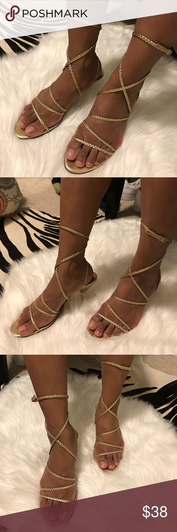 """ANNE KLEIN Gold braided strappy kitten heels Classy, sexy gold kitten heels. Dainty gold braided straps that wrap up around the ankle or can be worn lower loosely wrapped also. Kitten heels measure 3.5"""". Bottoms show some wear but tops in great condition. Anne Klein Shoes Heels"""