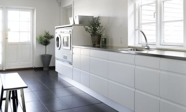 White does work in a laundry room