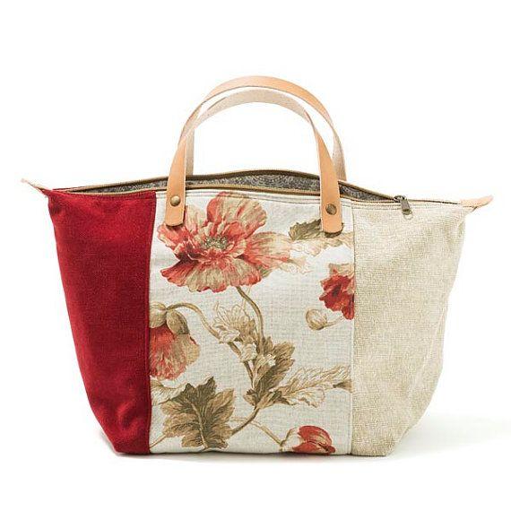 Bali bolso bolso en chenille lino Denim por AWAYOFLIFEhandmade