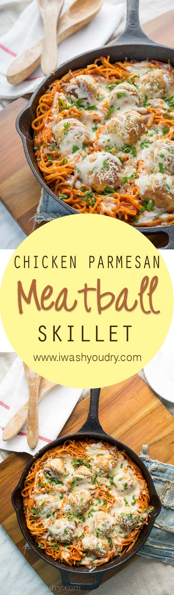 classic! This Chicken Parmesan Meatball Skillet only uses one skillet ...