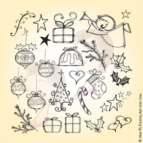 Hand Drawn Christmas Angel Tree Fir Stocking Candy Cane Presents Holly Leaves Stars Heart Bauble Digital Pencil Make Cards Elements 10525 #HandDrawnChristmas #ChristmasAngel #XmasTree