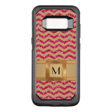 Gold & Pink Glitter Chevron Gold Band Defender OtterBox Commuter Samsung Galaxy S8 Case #chevron #samsung #galaxys8 #cases #protect