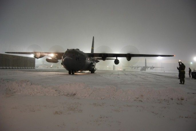 First snow at Bagram. First measurable snow of the 2013-2014 winter covered the U.S. aircraft based at Bagram airfield, in Afghanistan on Dec. 29, 2013.Snow accumulated on A-10s, C-130s , C-17s, and F-16s but the snowstorm did not stop flying activities at the largest U.S. airbase in Afghanistan.