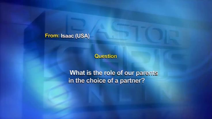 Pastor Chris: What is the role of parents in the choice of a partner? https://youtu.be/fBRi89cVb-U