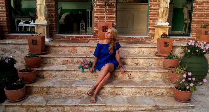 Deep Blue Custom Made Summer Dress. Beautiful Lefkada (2) | http://cristinamarascu.ro/beautiful-lefkada-2/