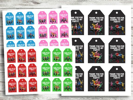 INSTANT DOWNLOAD Power Ranger Favor Tags Power by TinyTotArtShoppe