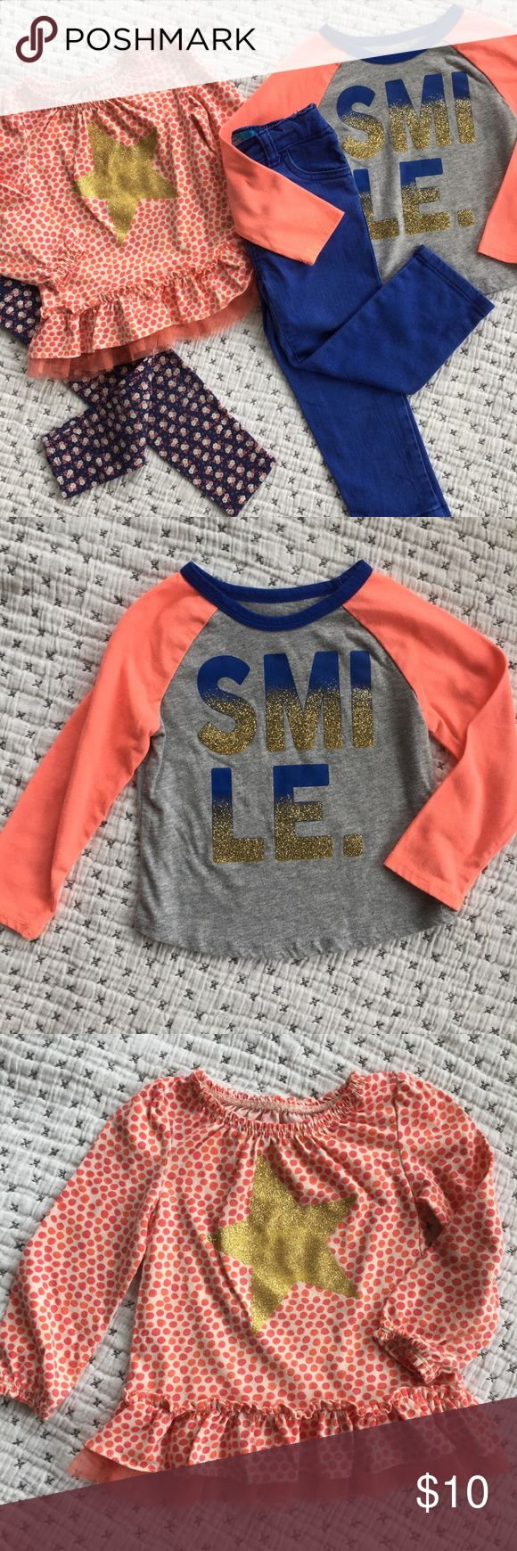 ✨Sparkly Play Bundle 2T✨ Bundle includes Gap 2T floral leggings, Old Navy  2T blue skinny jeans with adjustable waistband, Cherokee 2T orange star top, and Okie Dokie 24M Smile top. Items well loved with wash wear, some piling and some minor spots. Cute stuff, great for play. GAP Bottoms