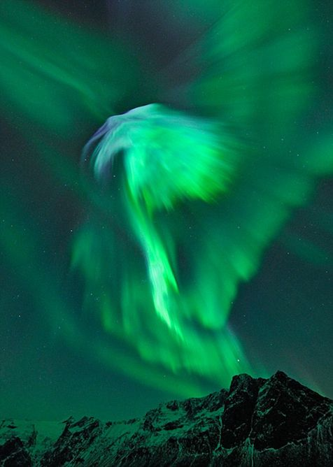 Solar energy that hit earth.  Looks like an eagle! Picture taken in Norway.