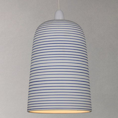 Buy John Lewis Portland Striped Ceramic Easy To Fit Pendant Shade White
