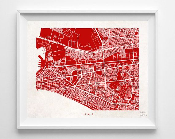 Lima Map Peru Poster Print Beautiful Living room by InkistPrints - $19.95 - Shipping Worldwide! [Click Photo for Details]