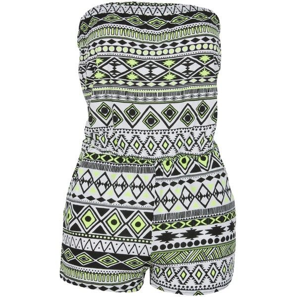 Neon Yellow Aztec Print Strapless Playsuit ($12) ❤ liked on Polyvore featuring jumpsuits, rompers, playsuits, dresses, bodysuits, strapless romper, aztec romper, playsuit romper, neon yellow romper and strapless rompers