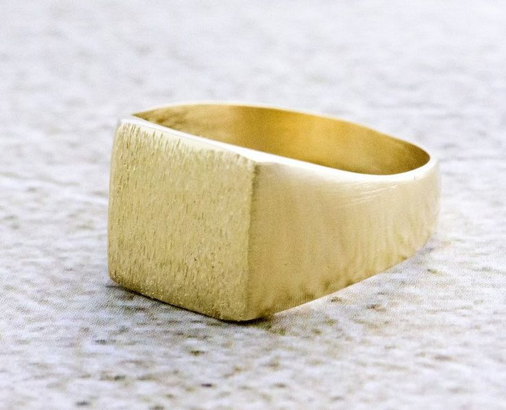 Gold Signet Ring for Men and Woman, Square Statement Ring, 14K Gold Plated, Brushed Finish, Seal Ring, Pinky Ring