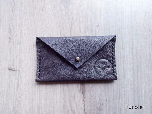 Purple Handmade Leather Envelope Card Wallet